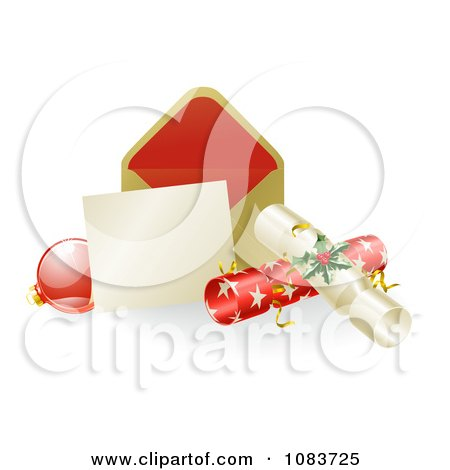 Clipart 3d Christmas Note With Crackers And A Bauble - Royalty Free Vector Illustration by AtStockIllustration