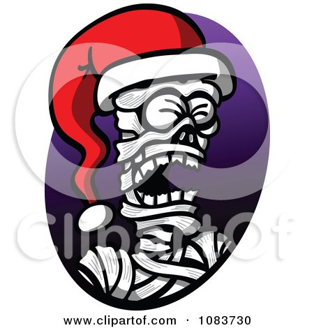 Clipart Mummy Wearing A Christmas Santa Hat - Royalty Free Vector Illustration by Zooco