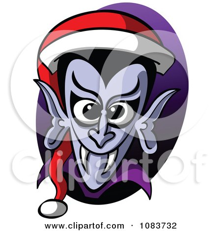 Clipart Vampire Wearing A Christmas Santa Hat - Royalty Free Vector Illustration by Zooco