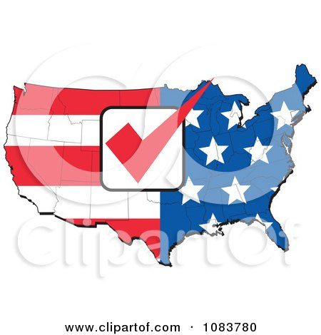 Clipart American Flag Map With A Red Vote Check Mark - Royalty Free Vector Illustration by patrimonio