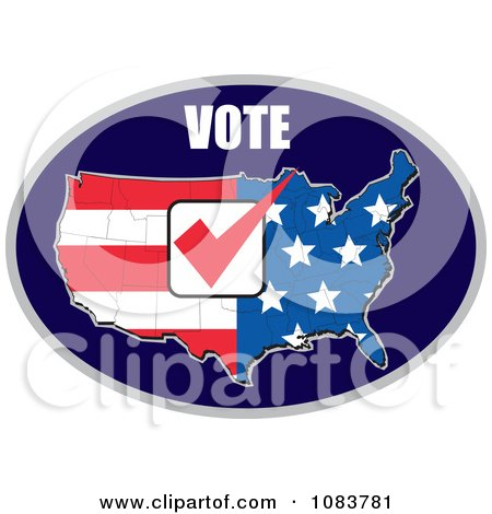 Clipart Vote Over And American Flag Map With A Red Vote Check Mark - Royalty Free Vector Illustration by patrimonio