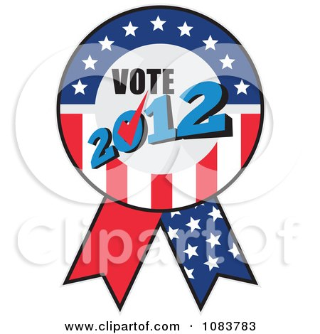 Clipart Vote 2012 Presidential Election USA Flag Ribbon - Royalty Free Vector Illustration by patrimonio