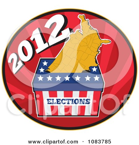 Clipart 2012 Presidential Election Ballot Box And Usa Map - Royalty Free Vector Illustration by patrimonio