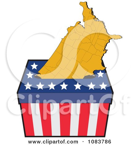 Clipart American Map In An Election Ballot Box - Royalty Free Vector Illustration by patrimonio