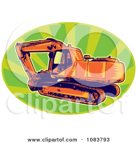 Orange Digger Machine And Green Rays Posters, Art Prints