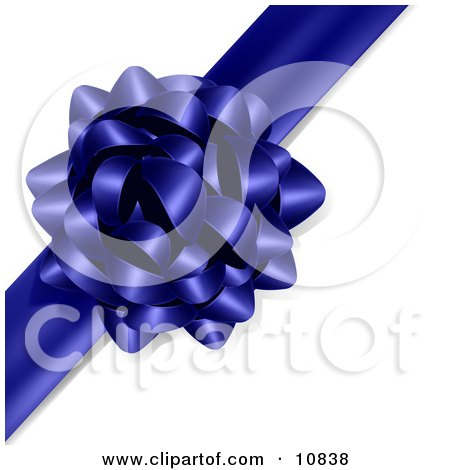 Gift Present Wrapped With a Blue Bow and Ribbon Clipart Illustration by Leo Blanchette