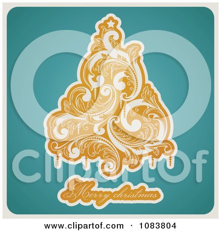 Clipart Retro Orange Flourish Tree Merry Christmas Text On Turquoise - Royalty Free Vector Illustration by elena