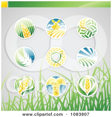 Clipart Round Wheat Icon Logos With Grass - Royalty Free Vector Illustration by elena