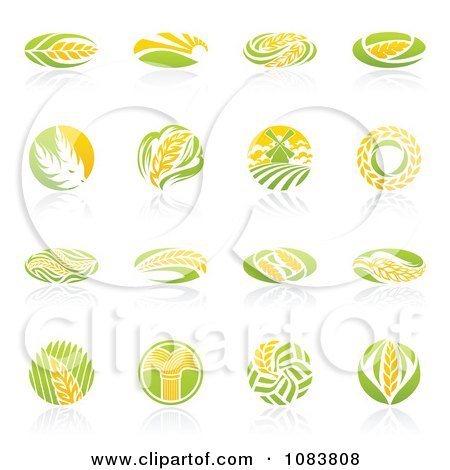 Clipart Round Wheat Icon Logos With Reflections - Royalty Free Vector Illustration by elena