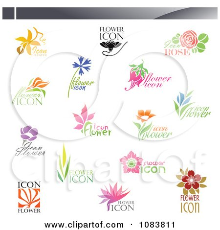 Clipart Floral Icon Logos - Royalty Free Vector Illustration by elena
