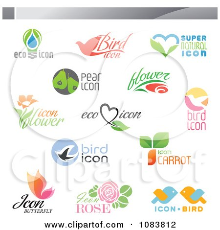 Clipart Ecology Nutrition And Nature Icon Logos - Royalty Free Vector Illustration by elena
