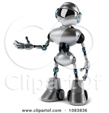 Clipart 3d Presenting Chrome Robot - Royalty Free CGI Illustration by Julos