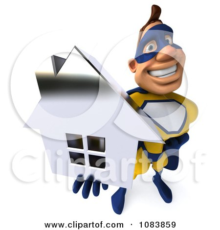 Clipart 3d Male Super Hero Holding A Chrome House 3 - Royalty Free CGI Illustration by Julos
