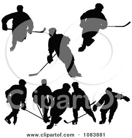 Clipart Black Hockey Player Silhouettes - Royalty Free Vector Illustration by Maria Bell
