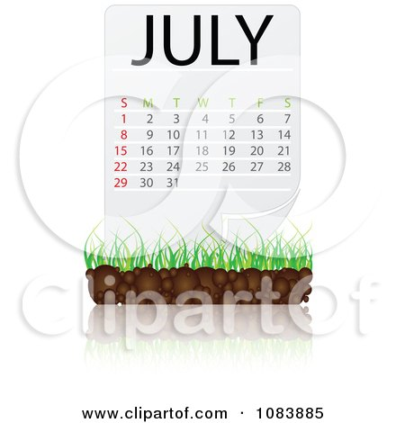 Free Vector Illustration on July Calendar With Soil And Grass   Royalty Free Vector Illustration