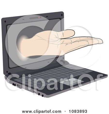 Clipart Offer Hand Reaching Out Of A Laptop - Royalty Free Vector Illustration by Andrei Marincas
