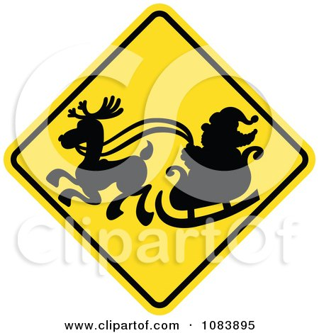 Clipart Silhouetted Santa And Sleigh On A Yellow Crossing Warning Sign - Royalty Free Vector Illustration by Zooco