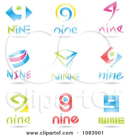 Clipart 3d Number Nine Logos - Royalty Free Vector Illustration by cidepix