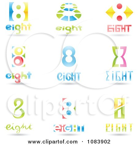 Clipart 3d Number Eight Logos - Royalty Free Vector Illustration by cidepix