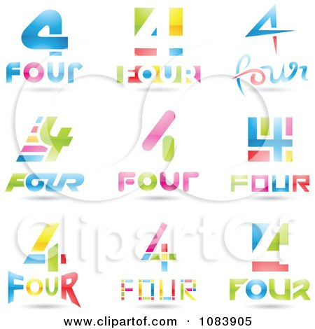 Clipart 3d Number Four Logos - Royalty Free Vector Illustration by cidepix