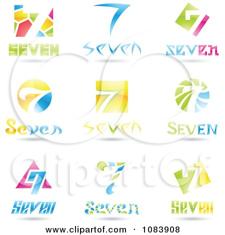 Clipart 3d Number Seven Logos - Royalty Free Vector Illustration by cidepix