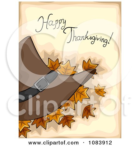 Clipart Happy Thanksgiving Greeting With Autumn Leaves And A Pilgrim Hat Over Tan - Royalty Free Vector Illustration by BNP Design Studio