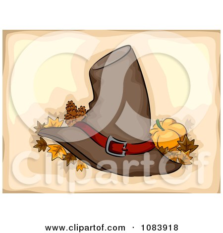 Clipart Pilgrim Hat With Autumn Leaves And A Pumpkin On Beige - Royalty Free Vector Illustration by BNP Design Studio
