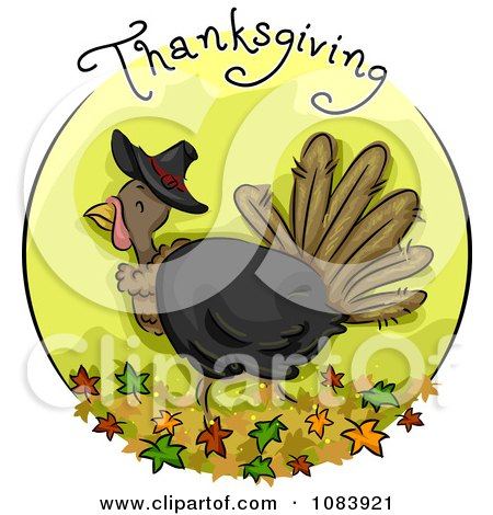 Clipart Green Thanksgiving Turkey Blog Icon - Royalty Free Vector Illustration by BNP Design Studio