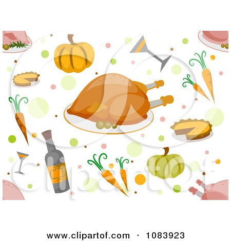 Clipart Seamless Thanksgiving Food Background - Royalty Free Vector Illustration by BNP Design Studio