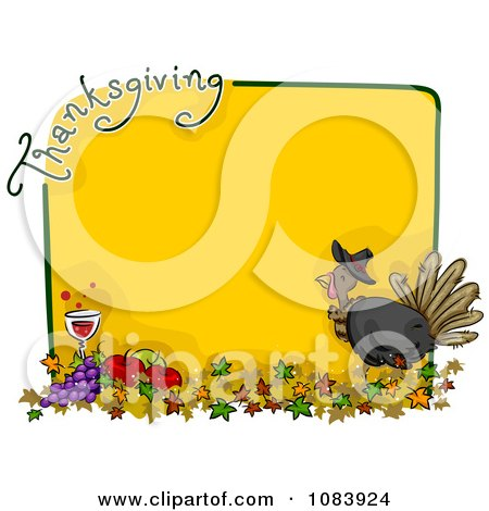 Clipart Yellow Thanksgiving Turkey Frame With Food And Leaves - Royalty Free Vector Illustration by BNP Design Studio