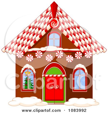 Clipart Gingerbread House With A Candy Cane Roof - Royalty Free Vector Illustration by Pushkin