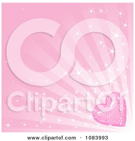 Clipart Pink Sparkly Heart And Ray Background - Royalty Free Vector Illustration by Pushkin