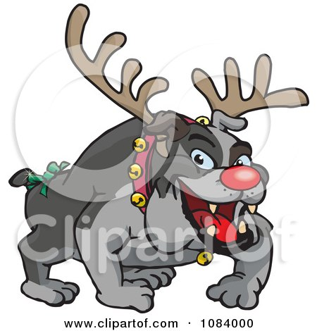 Clipart Christmas Bulldog Wearing Antlers And A Red Nose - Royalty Free Vector Illustration by Dennis Holmes Designs
