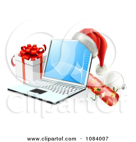 Clipart 3d Christmas Laptop With A Hat Cracker Bauble And Gift - Royalty Free Vector Illustration by AtStockIllustration