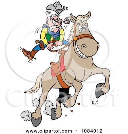 Clipart Bucking Bronco Knocking A Cowboys Teeth Out - Royalty Free Vector Illustration by LaffToon