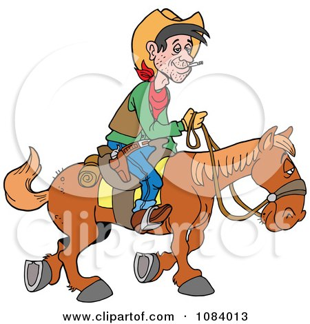 Clipart Cowboy Traveling By Horseback - Royalty Free Vector Illustration by LaffToon