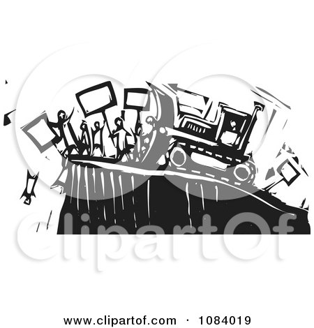 Clipart Bulldozer Pushing People Off Of A Cliff Black And White Woodcut - Royalty Free Vector Illustration by xunantunich