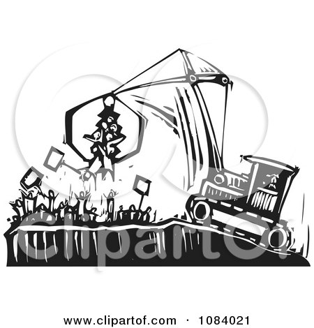 Clipart Crane Picking Up Protestors Black And White Woodcut - Royalty Free Vector Illustration by xunantunich