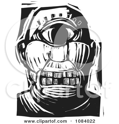 Clipart Cyclops Face Black And White Woodcut - Royalty Free Vector Illustration by xunantunich