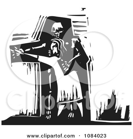 Clipart Person Dancing With Death Black And White Woodcut - Royalty Free Vector Illustration by xunantunich