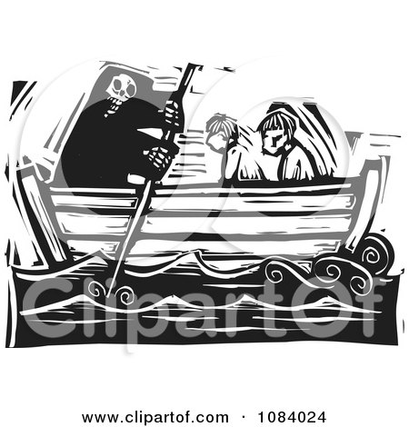 Clipart Grim Reaper Of Death Rowing People In A Boat Black And White Woodcut - Royalty Free Vector Illustration by xunantunich