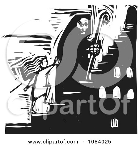 Clipart Grim Reaper Of Death Leading A Girl Up Stairs Black And White Woodcut - Royalty Free Vector Illustration by xunantunich