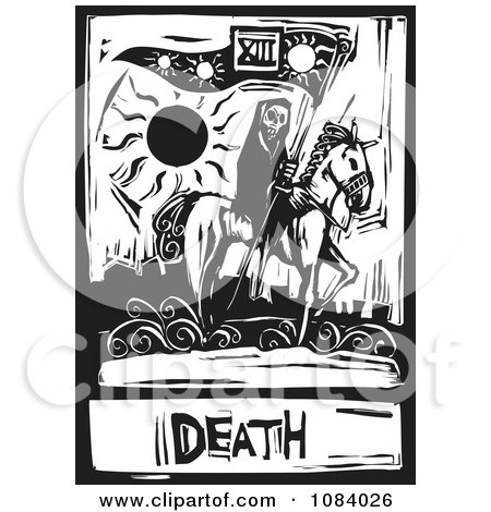 Clipart Grim Reaper Of Death Tarot Card Black And White Woodcut - Royalty Free Vector Illustration by xunantunich