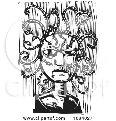 Clipart Medusa Face Black And White Woodcut - Royalty Free Vector Illustration by xunantunich