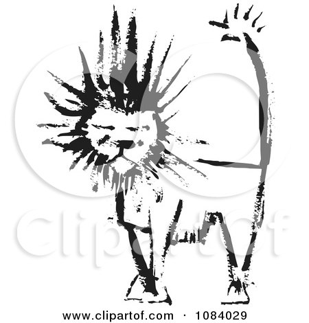 Clipart Male Lion Of Black Ink - Royalty Free Vector Illustration by xunantunich