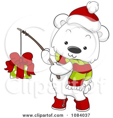 Clipart Christmas Polar Bear Fishing A Gift - Royalty Free Vector Illustration by BNP Design Studio