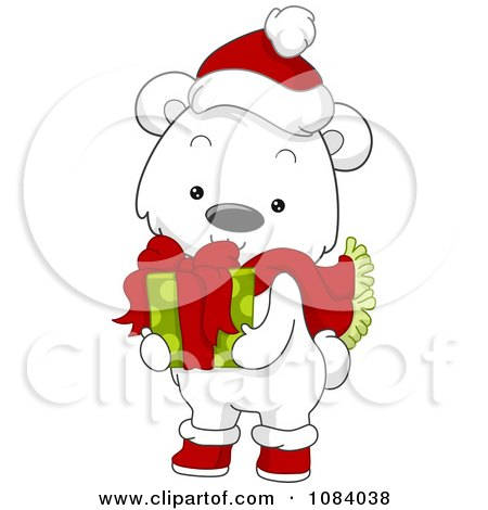 Clipart Christmas Polar Bear Holding A Gift - Royalty Free Vector Illustration by BNP Design Studio