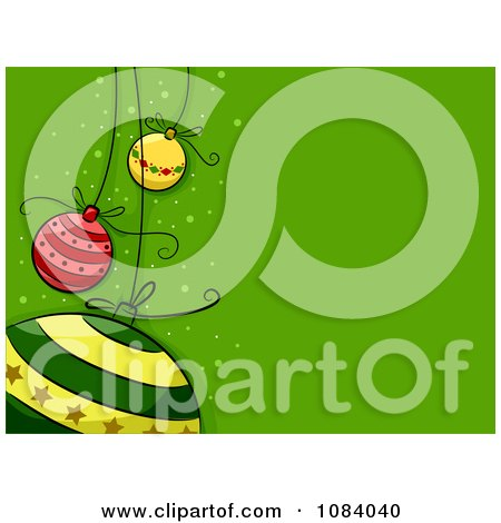 Clipart Green Christmas Background With Cartoon Baubles - Royalty Free Vector Illustration by BNP Design Studio