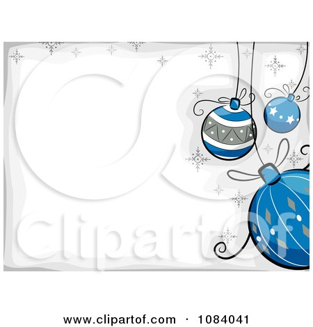 Clipart White And Gray Christmas Background With Cartoon Baubles - Royalty Free Vector Illustration by BNP Design Studio