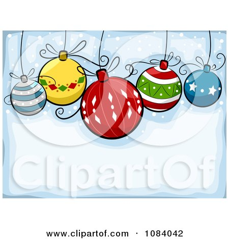 Clipart Blue Christmas Background With Cartoon Baubles - Royalty Free Vector Illustration by BNP Design Studio